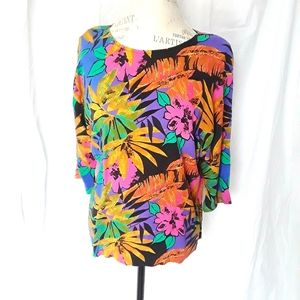 Vintage Tropical Shirt 3/4 Sleeves Size Medium